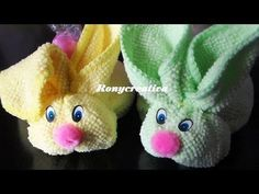 CONEJITOS DE TOALLA FACIAL- face cloth animals DIY / Ronycreativa - YouTube