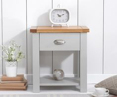 Buy the Somerset Oak and Grey Bedside Table at Oak Furniture Superstore