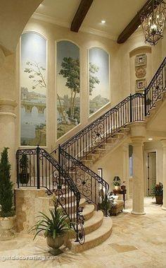 Mediterranean #stairway #Home #design ༺༺ ❤  ℭƘ ༻༻  For more please visit: http://www.flyfreshforever.com