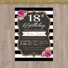 18th birthday invitations 18th birthday party by DamabDigital