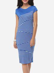 Irregular Striped Chic Round Neck Bodycon-dress