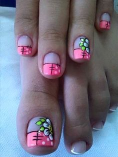 Cute Simple Nails, Cute Toe Nails, Toe Designs, Diy Nail Designs, Nail Polish Art, Toe Nail Art, Cute Pedicures, French Nail Designs, Flower Nails