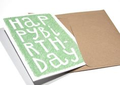 Birthday Card - Happy Birthday Typography in Green. $4.00, via Etsy.