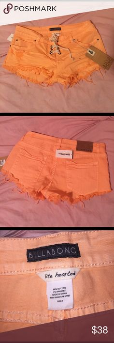 Just Peachy Lite Hearted Short 98% cotton / 2% spandex / actual size: 7                                                  🛍Bundle & save 20% on 3+ items!🛒  🙅🏻No trades or Selling off of Posh🙅🏻         💎Offers always welcome💎 Billabong Shorts Jean Shorts