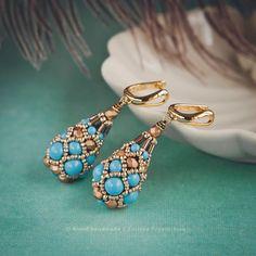 Купить «Oriental Faberge» серьги. Жемчуг Swarovski, японский бисер - серьги золотые, Серьги капли