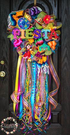 Fiesta Wreath-The Ultimate Fiesta Wreath, Fiesta Wreath, San Antonio Fiesta, Cinco De Mayo Wreath, Sarape, Custom Glitter Fiesta Letters by VirgiesTreasures on Etsy https://www.etsy.com/listing/276957630/fiesta-wreath-the-ultimate-fiesta-wreath