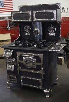 An antique cast iron stove.