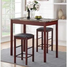 Induce a boost of personality for your living space by adding this Home Decorators Collection Tavern Espresso Bar Table Set. Bar Table Sets, Patio Bar Set, Bar Tables, House Tweaking, Open Concept Home, Espresso Bar, Pub Set, Counter Height Stools, Under The Table