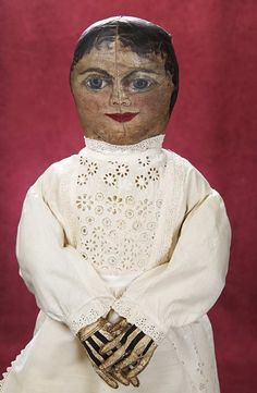 Wonderful American Cloth Folk Doll with Rare Stitched Gloves Auctions Online Feather Brows, Grey Eyeshadow, Fabric Dolls, Rag Dolls, Black Betty, Large Eyes, Gray Eyes, Black Curly Hair, Primitive Folk Art