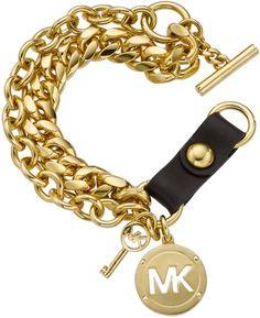 Michael Kors Double Row Logo Toggle Bracelet - Lyst