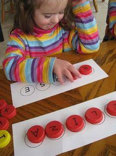 milk cap letters to learn spelling