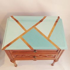 Coffee Table, Chest Of Drawers, Retro Nightstand, Bedside Table, Shabby Chic, Unique Geometric Design, Mid Century Table, Turquoise