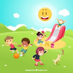 Children playing on playground Free Vector