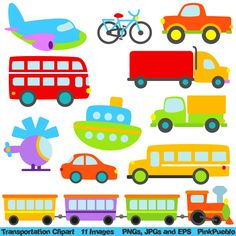 Transportation Clip Art Clipart with Car, Truck, Train, Helicopter, Plane, Boat, Bus, Scooter - Commercial and Personal Use. $6.00, via Etsy.