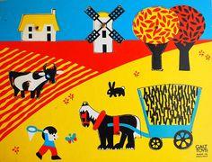Vintage Children Puzzle Wooden Peg Farm Jigsaw by honeyandsea