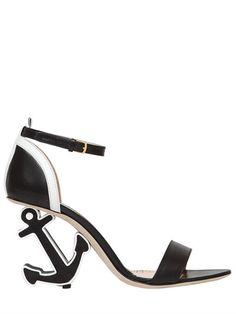 THOM BROWNE    90MM ANCHOR LEATHER SANDALS
