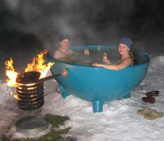 Dutchtub. Love the simple concept. No moving parts, just fill and heat. Could dress up the coils with stone or brick. Could be awesome.