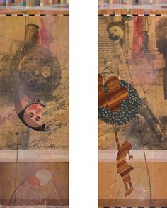 "geoff mitchell - martha's bird of fire, mixed media on panel (2 panels)  72"" X 60"""