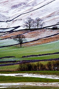 Winter Landscape in Upper Wharfedale,  Yorkshire, England ....
