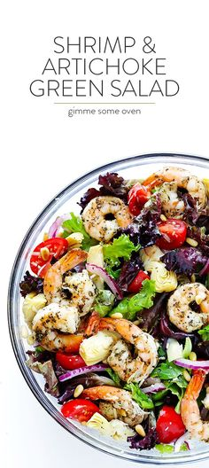 This Shrimp and Artichoke Green Salad is made with easy Italian-herb shrimp, artichoke hearts, tomatoes, pine nuts, and then it's tossed in a zesty lemon…