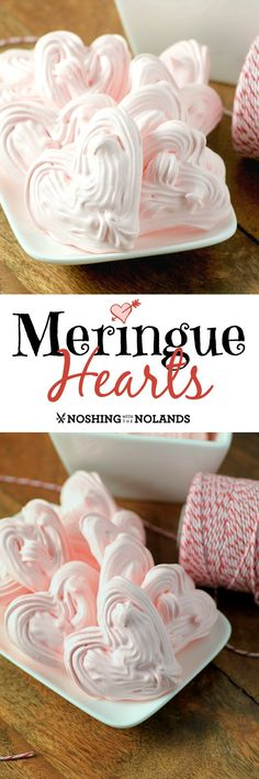 Meringue Hearts by Noshing With The Nolands are the perfect. Meringue Hearts by Noshing With The Nolands are the perfect treat for Valentines Day. Your loved ones will savor these light airy confections! Best Gluten Free Desserts, Dessert Sans Gluten, Healthy Dessert Recipes, Just Desserts, Cookie Recipes, Delicious Desserts, Yummy Food, Picnic Recipes, Baking Desserts