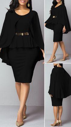 Black Faux Two Piece Poncho Dress HOT SALES beautiful dresses, pretty dresses, holiday fashion Fabulous Dresses, Pretty Dresses, Sexy Dresses, Casual Dresses, Party Dress Sale, Club Party Dresses, Outfits Dress, Women's Fashion Dresses, Latest Dress For Women