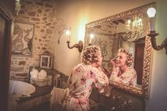"""""""The preparation of the bride"""" in the wonderful bathroom of our wedding suite..."""
