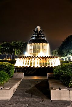 Charleston pineapple fountain in downtown Charleston is the symbol for hospitality.