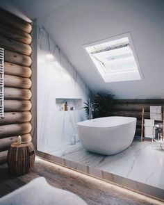 Bathroom-skylight -Indoor Skylights: 37 Beautiful Examples To Tempt You To Have One For Yourself Minimalism Interior, Interior Design Inspiration, Interior Design Examples, Spa Interior, Best Interior Design, Skylight Design, Interior Design, Bathroom Design, Loft Interior Design