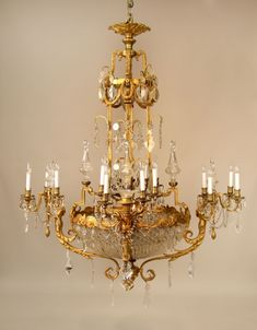 A Unique and Palatial Late 19th Century Gilt Bronze And Cut Crystal Twenty Four Light Basket ChandelierBy Mottheau and Son Paris