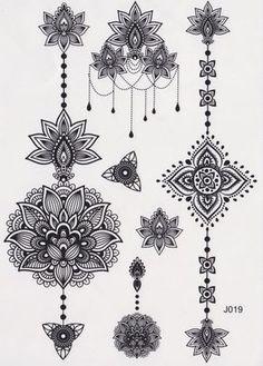 Black and White Assorted Lotus Temporary Tattoo Sheet, Mandala Tattoo, Temporary Tattoo Mandala, Lotus Tattoo, Aztec Tattoo, Tribal, Black and White, Henna Art, Maori Art, Polynesian #tattoosmenschest