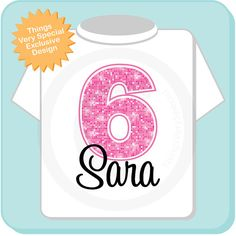 Sixth Birthday Shirt Pink 6 Any Age Personalized Girls And Name Tee For Kids 01032013a