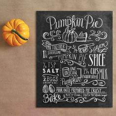 Love the hand-lettered chalk board look. | Pumpkin Pie Recipe (Print) - Lily & Val