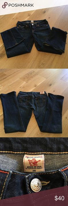True Religion boot cut/mid flare jeans True Religion boot cut/mid flare jeans. Great condition but do have some scuffs on the bottoms as shown in the last picture. True Religion Jeans Flare & Wide Leg