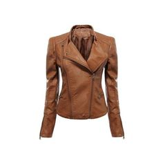 Yoins Yoins Biker Jacket (600 ZAR) ❤ liked on Polyvore featuring outerwear, jackets, yoins, motorcycle jacket, brown jacket, polyurethane jacket, moto jacket and brown moto jacket