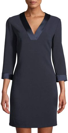 Shop V-Neck Satin-Trim Shift Dress from Tahari ASL at Neiman Marcus Last Call, where you'll save as much as on designer fashions. Last Call, Simple Dresses, Dressmaking, Chic Outfits, Neiman Marcus, Cold Shoulder Dress, Satin, V Neck, Shift Dresses