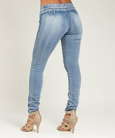 Love this Light Blue Embroidered High-Waist Skinny Jeans by  on #zulily! #zulilyfinds