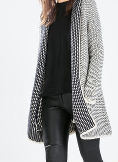sweater Pull Sweat, Hooded Cardigan, Long Cardigan, Zara Cardigan, White Cardigan, Sweater Jacket, Winter Stil, Casual Sweaters, Fall Sweaters
