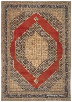 HADJI JALLILI (Haji Jalili) TABRIZ, Northwest Persian, 8ft 4in x 12ft 2in, 3rd Quarter, 19th Century. Even among the esteemed weavings attributed to the master carpet designer Hadji Jallili, of the Persian city of Tabriz this mesmerizing antique room size rug stands out. Multiple creative presentations of the traditional Herati Oriental carpet pattern are superimposed, one upon the other, both within the center medallion and the dramatic hexagonal reserve.