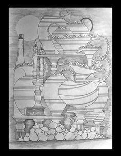 Galeria de Desenhos à Lápis Sem Sombreamento. Obras Criadas Somente Com Traços em Formas Livres..