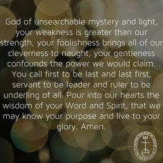 Prayer to God of unsearchable mystery. .. UCC, Justice and Witness Ministries, United Church of Christ