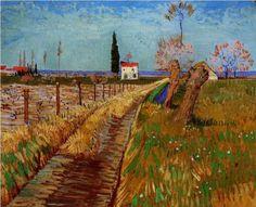 Vincent van Gogh Landschap met pad en afgeknotte bomen Arles 1888