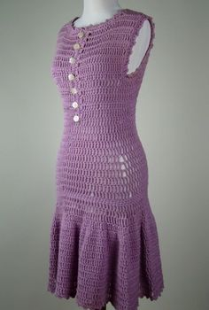 70's Hand Crochet Lavender Dress Winks to the 1920's. dress for sale, but out of stock. no pattern.