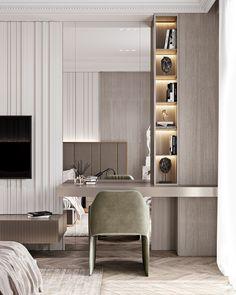 Apartment in Baku_A on Behance Luxury Bedroom Design, Bedroom Closet Design, Home Room Design, Home Office Design, Home Bedroom, Modern Bedroom, Home Interior Design, Living Room Designs, Bedroom Decor