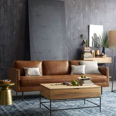 Industrial Storage Coffee Table and Leather Couch at West Elm AU #coastallivingroomsbrowncouch