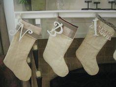 burlap stockings like the dangling letter
