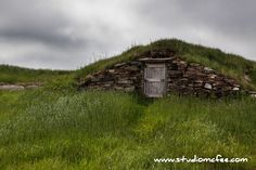 this the home of Bilbo Baggins? Actually it's a root cellar in the town of Elliston NL. Root Cellar, Bilbo Baggins, Newfoundland And Labrador, Natural Beauty, Canada, Cabin, Explore, Landscape, House Styles