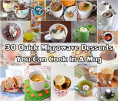 30 Quick Microwave Desserts You Can Cook in A Mug I'm pretty sure this is the dietary equivalent of crack-in-a-cup. Mug Recipes, Sweets Recipes, Just Desserts, Delicious Desserts, Cooking Recipes, Yummy Food, Quick Recipes, Mug Cakes, Easy Microwave Desserts