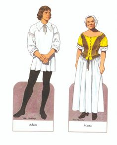 American Family Paper Dolls of the Pilgrim Period by Tom Tierney - Dover Publications, Inc.,1987: Plate 2 (of 15)