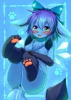 1girl blue_eyes blush bow cirno crossover fangs fur furry fusion glaceon hair_bow ice ice_wings kagerofu no_nipples paws pokemon tail touhou wings